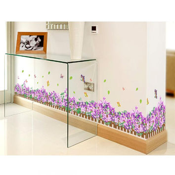 113*36cm fantastic flowers butterfly baseboard wall decals home decorative stickers wedding party living bedroom mural art 050.