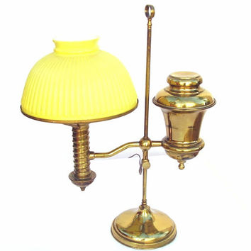 Antique Brass Student Lamp, Vintage Electrified Oil Lamp, Yellow Glass Shade, Manhattan Desk Lamp