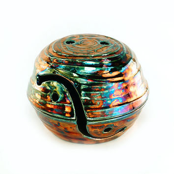 Darcy Ceramic Yarn Bowl with Lid Raku Pottery YBL13011