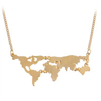 Globe World Map Pendant Long Necklaces Gold Silver Black Simple Charm Creative Earth Jewelry Gift For Teacher Student Lovers