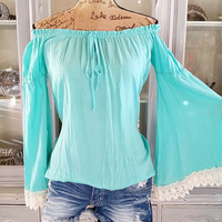 BELLE SLEEVE BEAUTY TOP IN AQUA