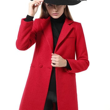 Thick Lapel Suit Collar Woolen Coat