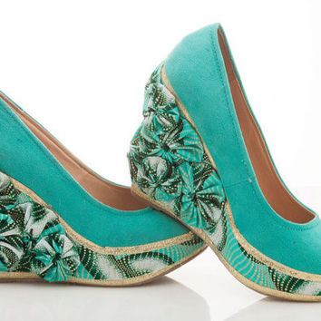 Mint Green Flower Ankara Wedge - Chains