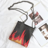 Flame Chain Strap Messenger Bag
