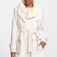 Ivanka Trump Faux Fur Collar Belted Asymmetrical Coat | Nordstrom