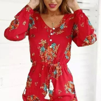 Cupshe Festive Red Floral Rompers