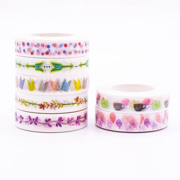 Mixed Color Japanese Washi Tape set Pastel Decorative Adhesive Tape Stoch Masking Paper Tapes 1PCS/lot