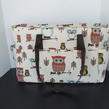 "Tote/Diaper bag in ""Hooty the Owl"" Print (Monogramming additional charge)"