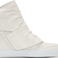 White Creased Leather High Top Sneakers