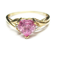 10K Yellow Gold .75 Carat Heart Cut Pink Topaz Ring Size 7