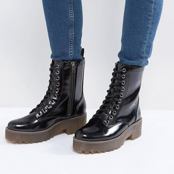 Monki Patent Lace Up Biker Boot at asos.com