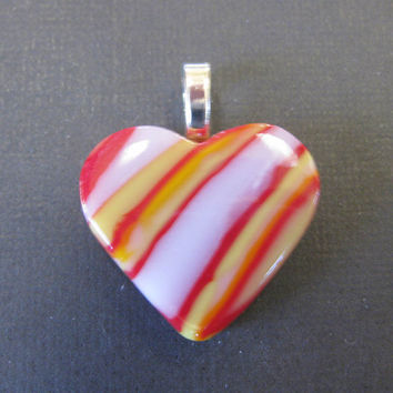Colorful Heart, Small Heart Jewelry, Fused Glass Heart, Omega Slide, Love Jewelry, Artisan Jewelry - Sassy Heart - 3001 -3