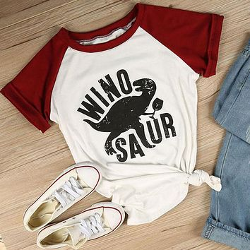 Winosaur - Wine Dinosaur Women's Short Raglan Sleeve O-Neck Casual T-Shirt