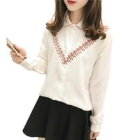 Autumn New Women Vintage Embroidery Blouses Button Lapel Long Sleeve Shirts Elegant Female Women Tops Casual Camisas Feminina