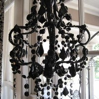 SHABBY FRENCH COTTAGE BLACK CHIC CRYSTAL CHANDELIER BIG | eBay