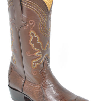 Gavel Handcrafted Men's 4-Piece Ostrich Cowboy Boots Tobacco