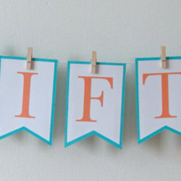 Gift Banner | Party Decoration | Party Decoration | Wedding Decoration | Shower Decoration | Clothespins