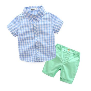 Children's clothing Sets Kids Suit Boys Clothing Sets Outfits baby boy suit short sleeve plaid shirt+Candy Colors Short