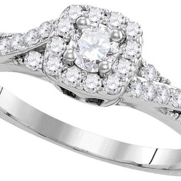 10k White Gold Round Diamond Solitaire Bridal Wedding Engagement Ring Band Set 1/2 Cttw