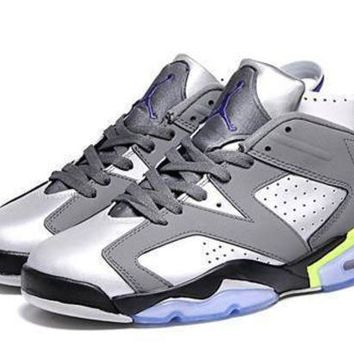 DCK7YE Cheap Air Jordan 6 Low Men Shoes Grey Silver Black