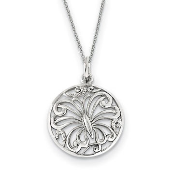 Sterling Silver CZ Miracles 18in Butterfly Necklace