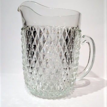 Indiana Glass Clear Glass Diamond Point Pitcher, Vintage Clear Diamond Point Glassware Pitcher, Indiana Glass Diamond Point 65-ounce Pitcher