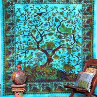 Tree of life tapestry wall hanging bohemian dorm room queen bedding blanket
