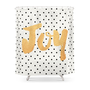 Society6 Joy - Polka Dots And Gold Shower Curtains
