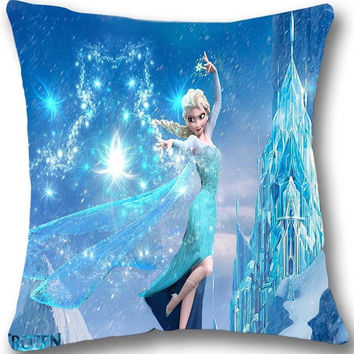 Frozen Elsa Ice Castle Disney Pillow Big SATIN Pillow 17 by 17
