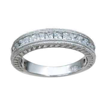 Plutus Brands 925 Sterling Silver Wedding Band 1.5 Carat Weight- Size 8