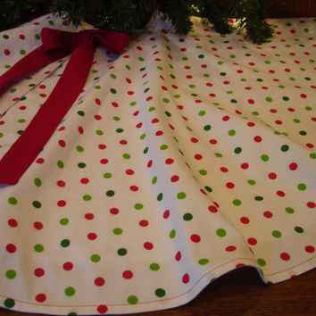 Polka Dot Christmas Tree Skirt Red and Green by KaysGeneralStore