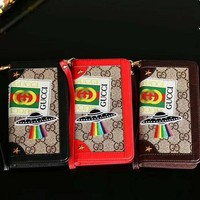 GUCCI tide brand retro UFO planet lanyard flip leather case iPhoneXsmax mobile phone case cover
