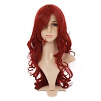 MapofBeauty Charming Synthetic Fiber Long Wavy Hair Wig Women's Party Full Wigs (Wine Red)