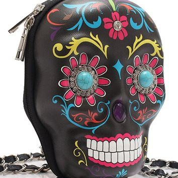 Sugar Skull Messenger Bag With Chain Strap
