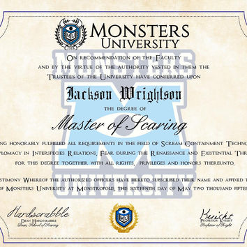 Personalized Monsters Inc. Diploma - Monsters University Customized Degree printed on Parchment Paper