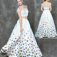 GLOW G731 Two Piece Butterfly Print Prom Evening Dress