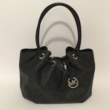 ICIKW7H MICHAEL KORS Signature MK Grommet Drawstring Hobo Bag with Leather Tassel Black
