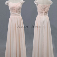 graceful pearl pink a-line prom gowns    scoop neckline floor length prom dress    cheap chiffon dresses for party