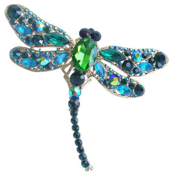 Gold-tone Turquoise Green Rhinestone Crystal Dragonfly Brooch Pin Pendant