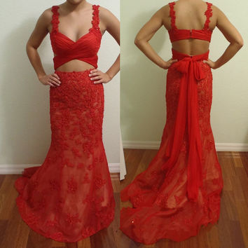 Floor Length Prom Dresses,Red Straps Prom Dress,Evening Dresses