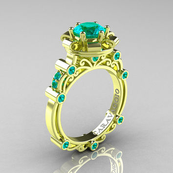 Caravaggio 18K Green Gold 1.0 Ct Blue Zircon Engagement Ring R631-18KGGBZ