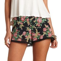 LACE-TRIMMED FLORAL CHIFFON SHORTS