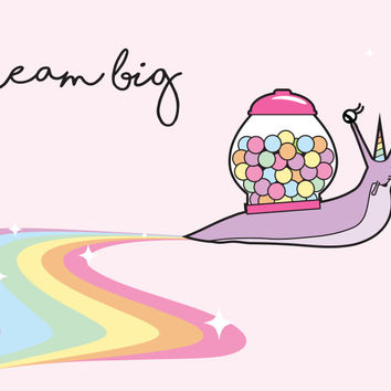 Magical Snail Unicorn, Dream Big, Gumball Machine Shell, 4x6 inch Art Print