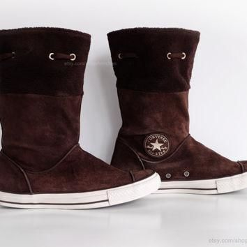 brown suede converse boots with soft fleece cuffs calf high leather converse vintage