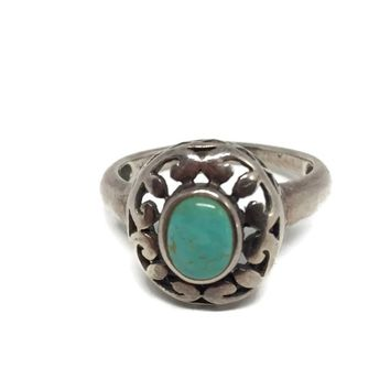 Sterling Silver Openwork Turquoise Ring Size 8 3/4, Vintage Filigree Ring High Profile Lattice Work, Vintage Jewelry