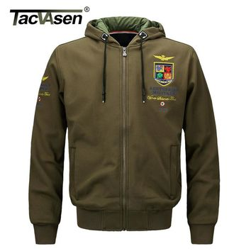 TACVASEN Men's Military Air Force Fly Pilot Jacket Men Tactical Airborne US Army Clothes Fleece Hooded Sweatshirt TD-LHZ-004