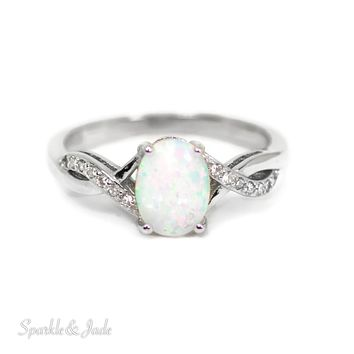 Sterling Silver Oval Created White opal and CZ Accented Infinity Inspired Ring