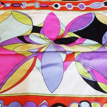 70s Emilio Pucci chiffon fabric Made in Italy, home decor wall art, vintage pucci fabric, abstract wall art, designer fabric, silk chiffon