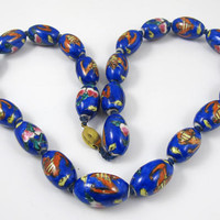 Chinese Porcelain Bead Necklace, Flying Bats, Hand Painted Olive Shaped Cobalt Blue Beads, Hand Knotted, Chinese Export Jewelry, Good Luck