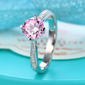 Fancy Pink Lab Created Diamond Wedding Promise Ring 1.25 Ct Fine 925 Sterling Silver